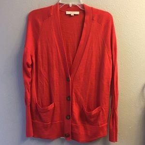 Loft- burnt orange/red cardigan- size XL